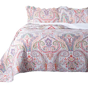 Bedsure 3 Pieces Quilt Set King Size (106x96 inches), Marrakesh Paisley Pattern, Lightweight Coverlet for Spring and Summer (Includes 1 Quilt, 2 Shams)