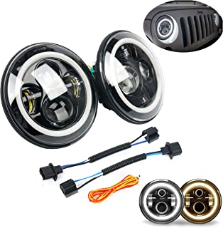 Pair of 7 Inch LED Halo Headlights with DRL Amber Turn Signal& White LED Driving Lights, Hi/Lo Beam for Jeep Wrangler JK TJ LJ CJ Land Rover
