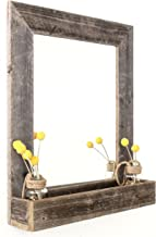 BarnwoodUSA Large Farmhouse-Style Mirror with Reclaimed Wood Shelf, Rustic Wall Decor