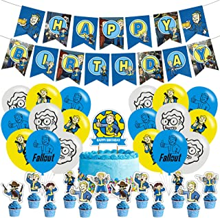Fallout party supplies,Banner,big cake topper,Cupcake Toppers,Ballons,Fallout Theme Birthday Party Suppliers, Kids Boys Gi...