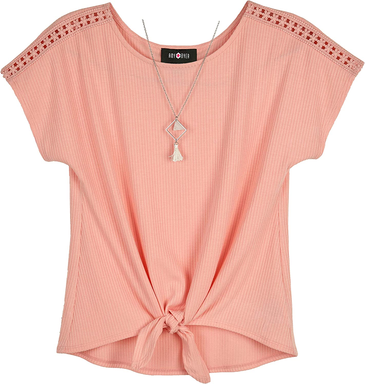 Amy Byer Girl's Short Sleeve Tie-front Top Shirt
