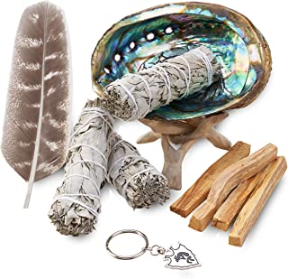 JL Local Smudge Kit - Sage, Palo Santo, Abalone Shell, Feather + More! Yoga, Meditating, Purify, Cleanse