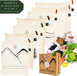 Reusable Produce and Bulk Bags by `AINA LIFE | 100% Organic Cotton with Tare Weight labels a Zero Waste and Biodegradable alternative for plastic-free grocery shopping
