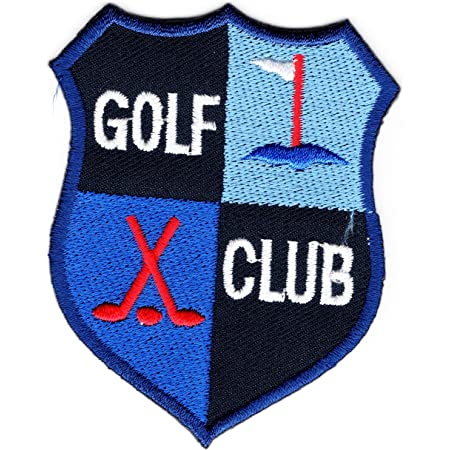 GOLF CLUB,Golf Crest Iron on Patch Sew on Embroidered Badge applied Applique Patches (Iron or Sewing On) (Blue)