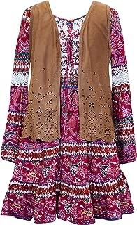 Girls' Big Tween Ombre Sequins Yoke Long Sleeve Dress