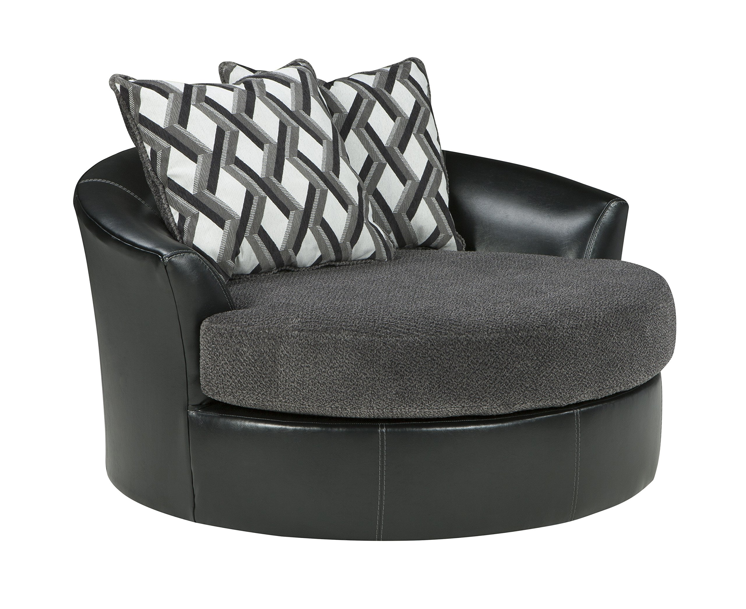 Benchcraft - Kumasi Contemporary Oversized Swivel Accent Chair - Smoke Gray  sc 1 st  Amazon.com & Round Sofa Chair: Amazon.com