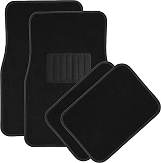 OxGord Universal Fit Front/Rear 4-Piece Full Set Heavy Duty Economy Carpet Floor Mat - (Black)