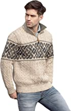 Aran Crafts Jacquard Sweater with Half Zip (100% Merino Wool) in Oatmeal or Charcoal Colors