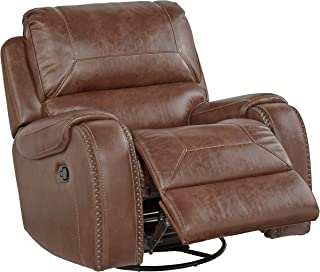 Roundhill Furniture Achern Leather-Air Nailhead Swivel Glider Recliner Brown