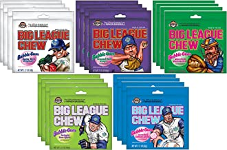 Big League Chew Bubble Gum Variety Pack 5 Flavors (Pack of 20)