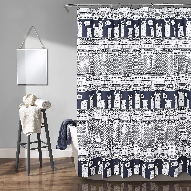 "Lush Decor Llama Stripe Shower Curtain, 72"" x 72"", Navy"