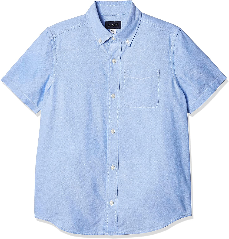 The Children's Place Boys' Short Sleeve Husky Button Down Shirt