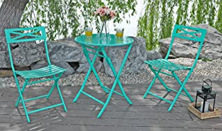 Captiva Designs 3 Pcs Outdoor Patio Stable Steel Bistro Folding Table and Chair Furniture Set,Green