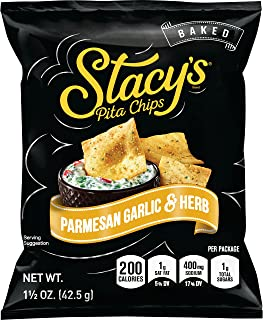 Stacy's Parmesan Garlic & Herb Flavored Pita Chips, 1.5 Ounce Bags (Pack of 24)