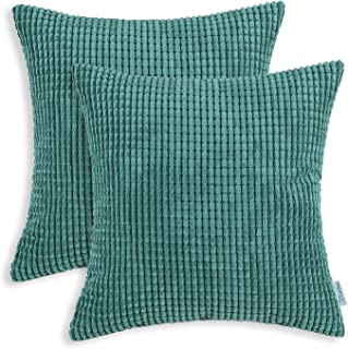Best CaliTime Pack of 2 Comfy Throw Pillow Covers Cases for Couch Sofa Bed Decoration Comfortable Supersoft Corduroy Corn Striped Both Sides 22 X 22 Inches Teal Review