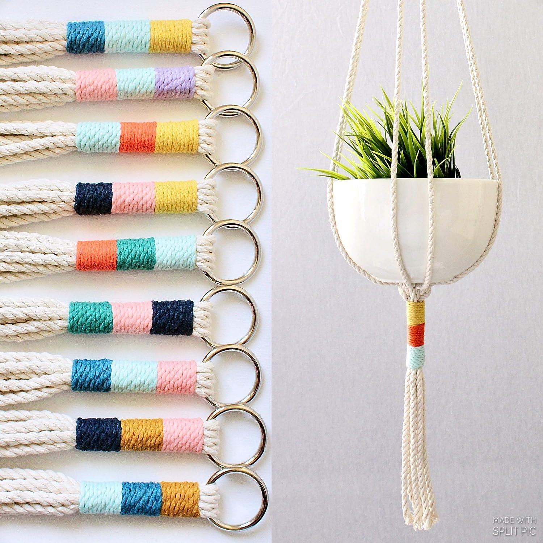 Amazon.com Macrame Plant Hanger, Cotton Rope Hanging Plant Holder ...