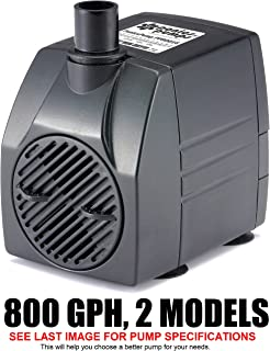 PonicsPump PP80016: 800 GPH Submersible Pump with 16' Cord - 60W… for Hydroponics, Aquaponics, Fountains, Ponds, Statuary, Aquariums, Waterfalls & more. Comes with 1 year limited warranty.