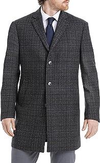 Men's Slim Fit Wool Blend Overcoat Jacket, Grey Windowpane, 38R