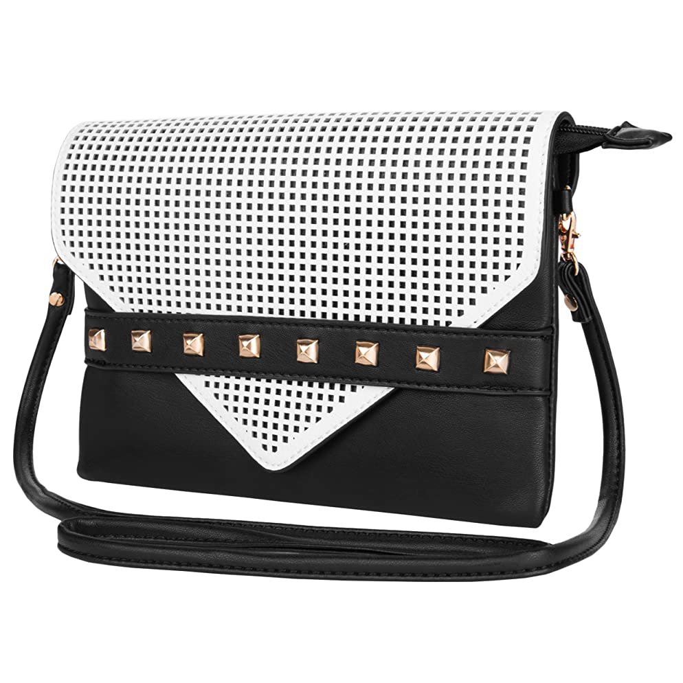 VanGoddy Roxy Wallet Clutch Handbag for BLU Neo 4.5 / Neo 3.5 / Vivo 4.8 HD Unlocked Phones (Black & White)