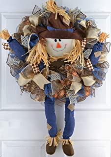 Scarecrow Thanksgiving Deco Mesh Wreath | Fall Front Door Wreath; Burlap Blue Brown