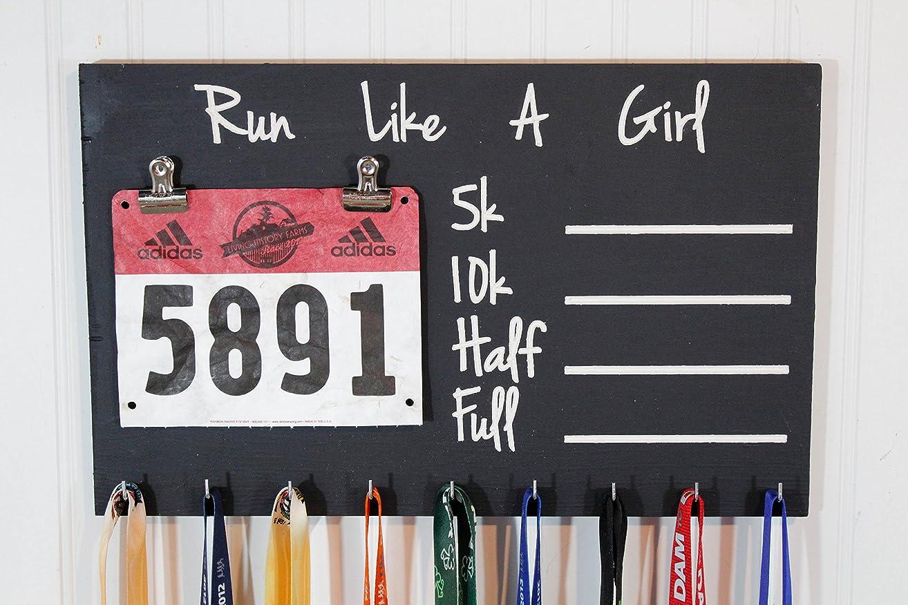 Carved Run Like A Girl PR Chalkboard Running Medal Holder - Bib Holder