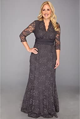 1cc2e0eb496 Kiyonna. Jasmine Lace Evening Gown.  198.00. Charcoal Grey