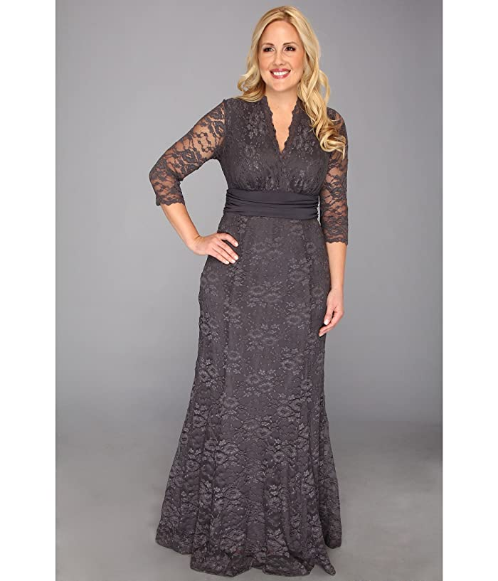 Kiyonna Screen Siren Lace Gown (Charcoal Grey) Women's Dress