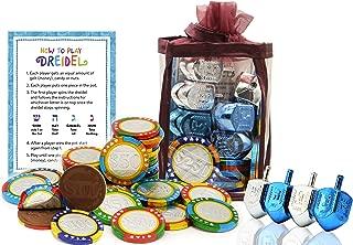 Hanukkah Chocolate Gelt - Chanuka Chocolate Coins - Hanukkah Gift-Set - Chocolate Poker Chips - Chocolate Gelt and Metallic Dreidels In An Adorable Keepsake Bag Kosher O-UD