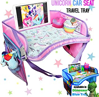 CarSeat Tray -Toddler Travel Tray Guaranteed to Keep Kids Occupied & Entertain for Hours, Prevent Frustration While Driving, Sturdiest & Most Comfortable Travel Tray for Car Seat (Pink)