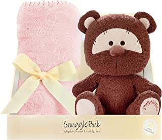 SnuggleBub Minky Baby Blanket and Plush Teddy Bear Set, Pink 30x40 inch. Warm, Soft, Receiving Blanket, Comforter, Swaddle for Newborns, Infants, Toddlers