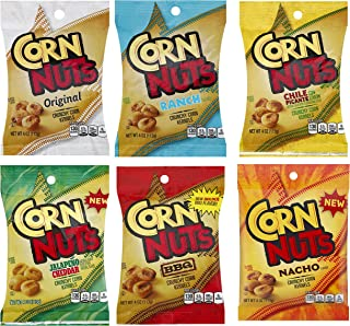 Corn Nuts Variety Gift Box (6 - 4 oz Bags) – Original, Barbecue, Chile Picante, Ranch, Jalapeno & Cheddar, Nacho