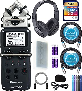 Zoom H5 Handy Recorder Bundle with Samson SR350 Headphones, Silicon Power 32GB Class 10 SD Card, Blucoil 2-Pack of 10-FT Balanced XLR Cables, 5-FT Audio Aux Cable, 5x Cable Ties, and 4 AA Batteries