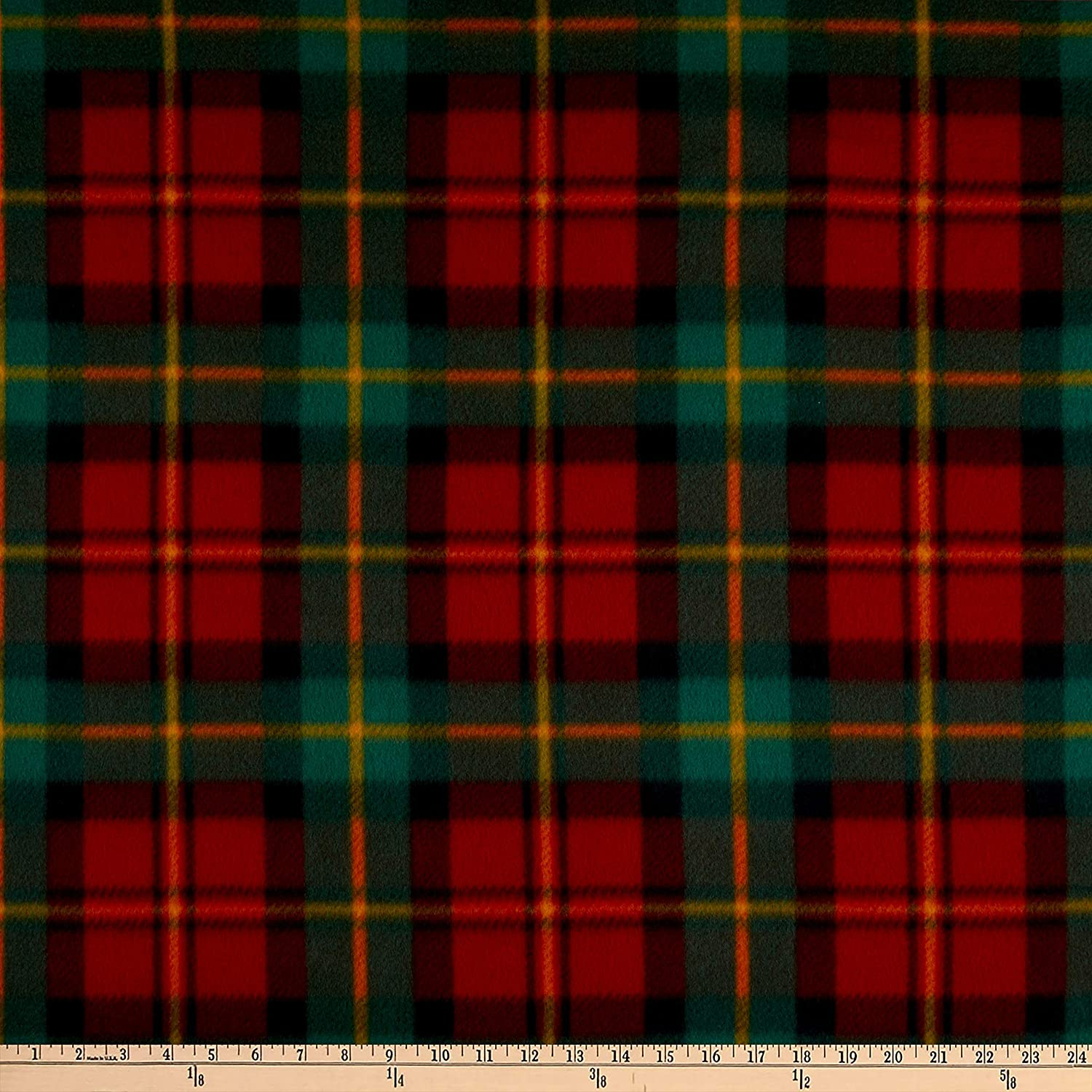 Polar Fleece Chris Plaid Red Ranking integrated 1st place the Yard Some reservation Green Fabric by