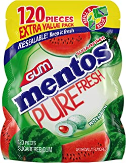 Mentos Pure Fresh Sugar-Free Chewing Gum with Xylitol, Watermelon, 120 Piece Bulk Resealable Bag