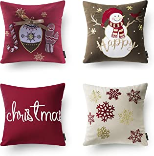 Phantoscope Set of 4 New Merry Christmas Embroidery Snowman Letter Snow Flakes Throw Pillow Case Cushion Cover 18 x 18 inches 45 x 45 cm