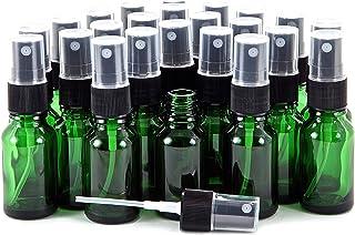 Vivaplex, 24, Green, 15 ml (1/2 oz) Glass Bottles, with Black Fine Mist Sprayer's
