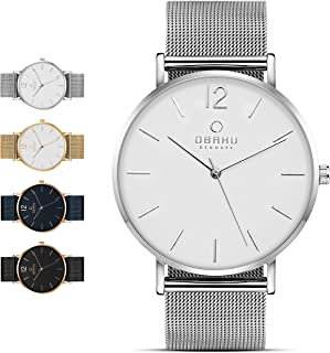 Mens Classic and Modern Dress Watch with Stainless Steel Mesh Band in Black, Blue, Silver, and Gold | Scratch & Water Resistant | 40MM 3-Handed Watch