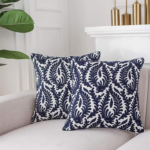 LIFONDER 棉帆布刺绣装饰枕套贝壳藏青色抱枕套带隐藏拉链封口 18x18 英寸 2 个装