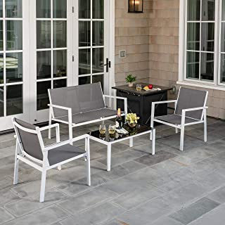 Hanover NAPLES5PCFP-GRY Naples 5-Piece Patio Set Featuring a 40,000 BTU Tile-Top Fire Pit Table Outdoor Furniture, Gray
