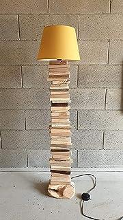 Lampada in legno, LED, rustica, vintage, in legno di Ginepro sardo, Castagno, Faggio, Abete, paralume, piantana.