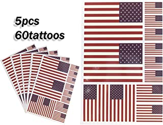 JBCD United States Temporary Tattoos 60 Pcs US USA Flag Stickers, Waterproof tattoos National Flags Tattoo Patriotic America Face Tattoos, Suitable for Sports Event Parties and Pride Decorations
