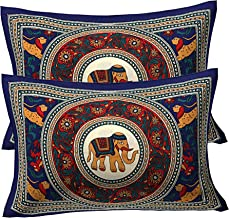 RajasthaniKart ® 100% Cotton Pillow Cover (Set of 2) -Ethnic Elephant Print, Multicolor (Blue)
