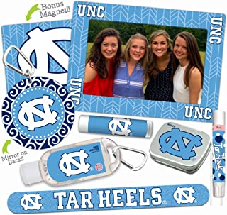 North Carolina Tar Heels Deluxe Variety Set with Nail File, Mint Tin, Mini Mirror, Magnet Frame, Lip Shimmer, Lip Balm, Sanitizer. NCAA Gifts and Gear for Women, Mother's Day