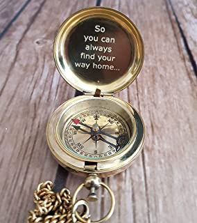 engraved brass compass / personalized working compass