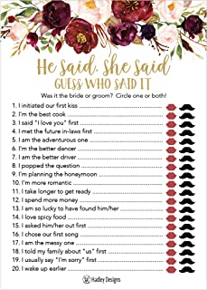 25 Floral Wedding Bridal Shower Engagement Bachelorette Anniversary Party Game Ideas, Gold He Said She Said Cards For Couples, Funny Co Ed Trivia Rehearsal Dinner Guessing Question Fun Kids Supplies