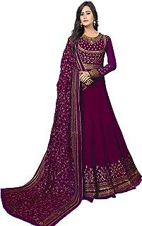 Ethnic Yard Women's Georgette Anarkali Embroidered Semi-Stitched Salwar Suit
