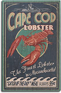 Cape Cod, Massachusetts - Lobster Vintage Sign (10x15 Wood Wall Sign, Wall Decor Ready to Hang)