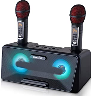 Portable Karaoke Machine for Adults & Kids - Best Birthday or Holiday Gift w/Bluetooth Speakers, 2 Wireless Microphones, LED Lights, Tablet Holder, PA System & Karaoke Song Mode! Presto G2 (Black)