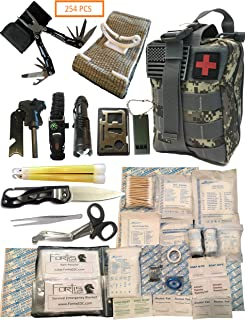 Fortis EDC Emergency First Aid Survival Kit Molle Bag Tactical IFAK for Car Travel Camping Hiking RV - with Israeli Bandage 4 inch Trauma Bleed Stop and Full Size Multi-Tool CPR Mask - 254 Piece