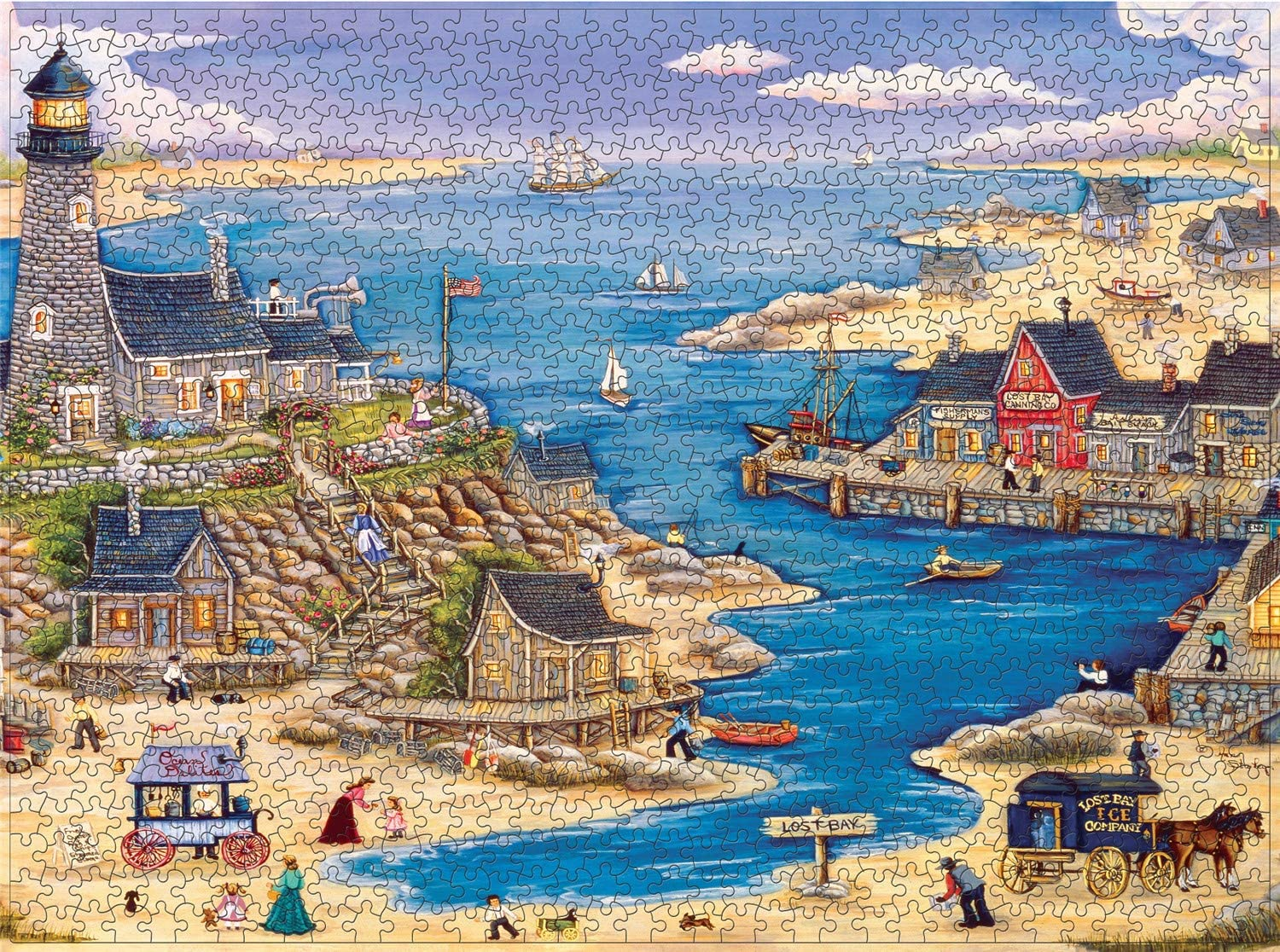 Seaside Village Jigsaw Puzzles for Adults 1000 Piece 27x20 inch,Ultra Difficult Challenge Decompression Adults Kids Puzzles Games,Large Landscape Artwork,Educational Family Puzzle Toys Gifts